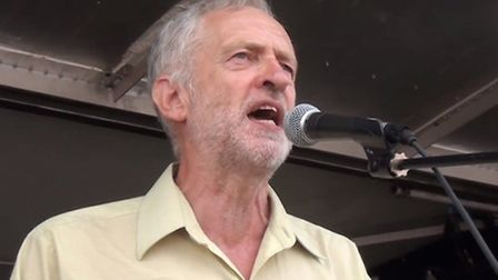 Jeremy Corbyn speaks at a rally in Hyde Park