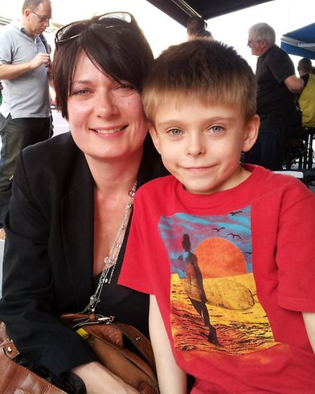 Jill Armstrong and her oldest son, Jude, 8, at Piebury Corner on Holloway Road