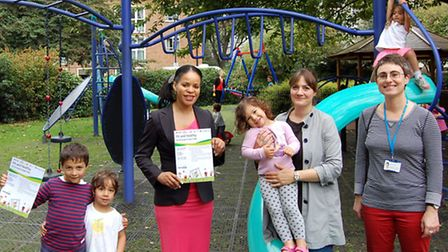 Cllr Claudia Webbe with Rebecca Kouyoumjian and kids and Marina Chrysou from NHS Whittington Health