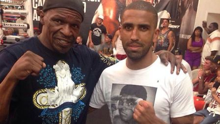 Aarron Morgan (right) with Floyd Mayweather Sr