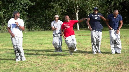 Richard Hutton (Trevor's brother), far left, taking part in the sack race (Pic credit: Angela Blake)