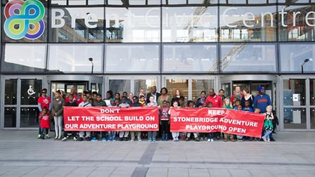 Scores gathered outside Brent Civic Centre to issue the petition to the leader of the council