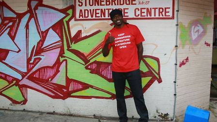 Boxer Audley Harrison is supporting calls to save the playground (Pic credit: Angela Blake)