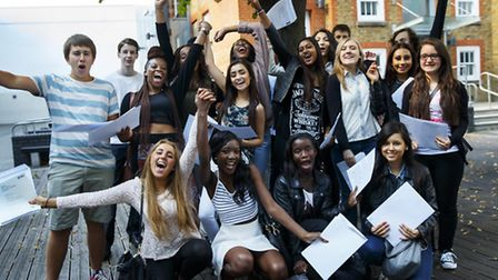 Students of City of London Academy Islington celebrating their GCSE results