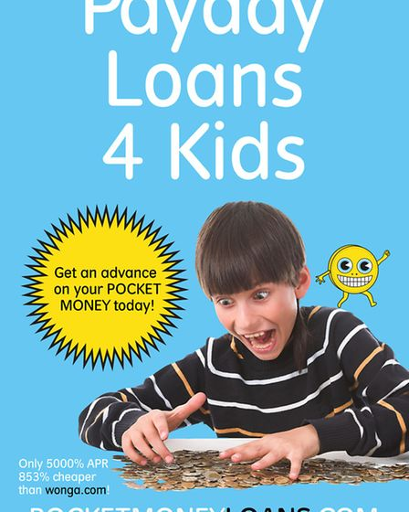 The poster for Pocket Money Loans - offering an APR of 5,000%, still '853% cheaper than Wonga' (Pict