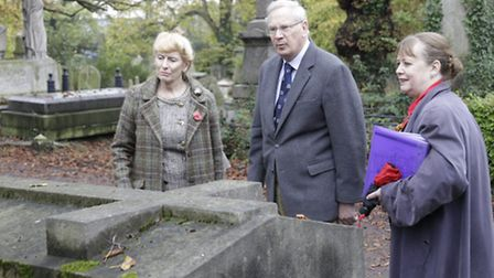 The Duke of Gloucester was shown different graves during his visit