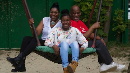 Shyann (middle) with Jennifer Parris and her grandfather Patrick Coley