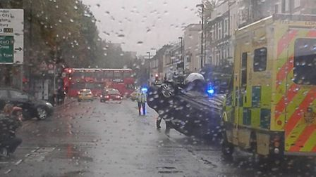 The aftermath of the collision in Hornsey Road Pic: Leary Wright