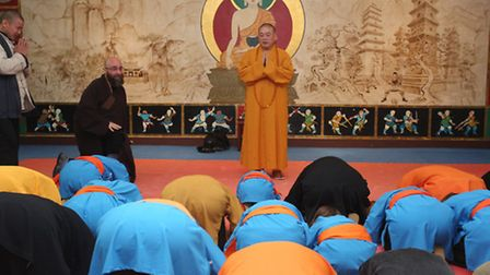 The Abbot of the Shaolin Temple in China, Shi Yong Xin, leads a ceremony at the London Shaolin Templ