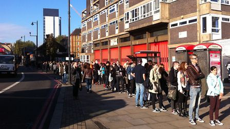 Denim mad: the queue for free jeans stretching as far as Old Street roundabout
