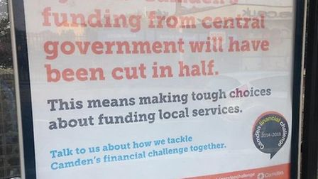 Poster displayed at TfL bus stops in Camden