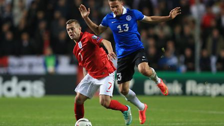 England's Jack Wilshere (left) and Estonia's Martin Vunk battle for the ball during the UEFA Euro 20