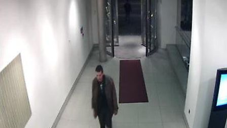 CCTV still of Spence in the entrance area at the Cumberland Hotel on Sunday, 6 April. at 1.13am