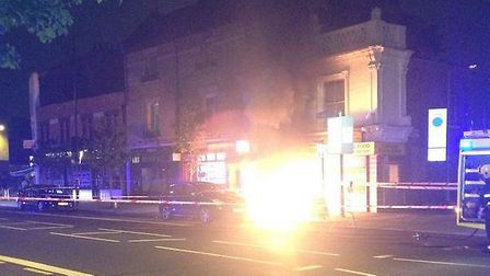 Annie Wong took this photo of flames leaping out from the pavement of Holloway Road
