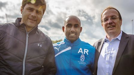 Left to right: Spurs manager Mauricio Pochettino, Pro Touch Soccer Academy director Ash Rahman, Tim
