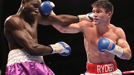 John Ryder (right) in action against Theophilus Tetteh. Pic: Chris Royle/TGSPHOTO