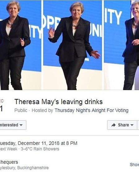 Facebook event for Theresa May's leaving drinks (Photograph: Facebook)