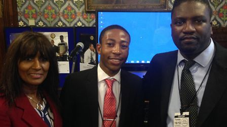 Clive Nyawo (centre) with his employers Ros Woodward (left) and Michael Selman