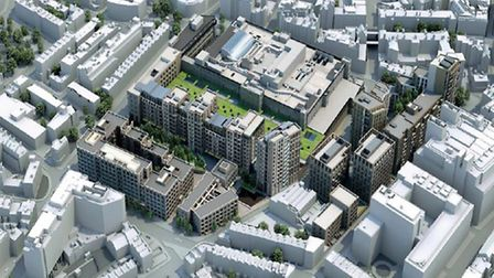 Aerial view of Royal Mail's design for Mount Pleasant site