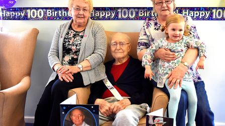 Charlie Read with daughters Ruth and Jill and his great granddaughter. Pictures: Mick Howes