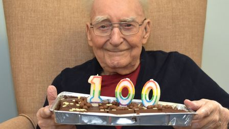 100th birthday celebrations for Charlie Read, of Lowestoft. Pictures: Mick Howes