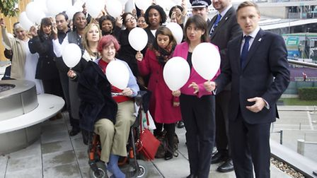 White balloons were released in Wembley today