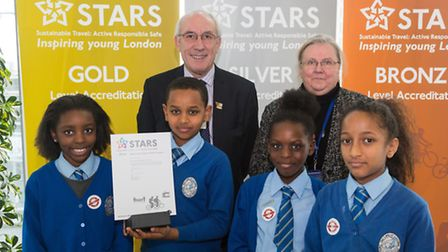 Our Lady of Lourdes Primary school in Brent scoops excellence award for Transport. Pupils seen here