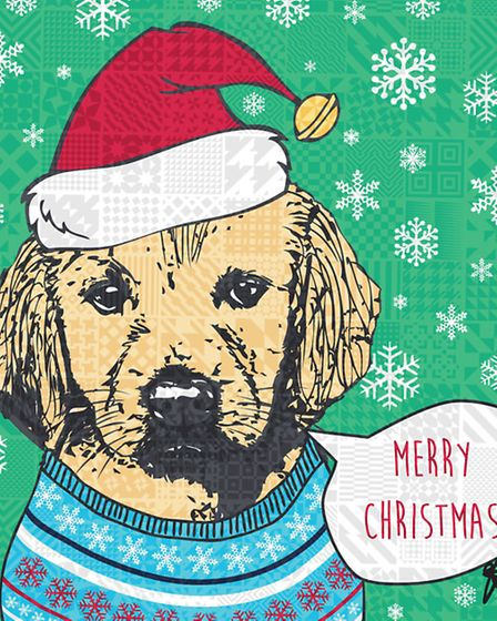 Santa Paws Christmas card, every penny goes to charity