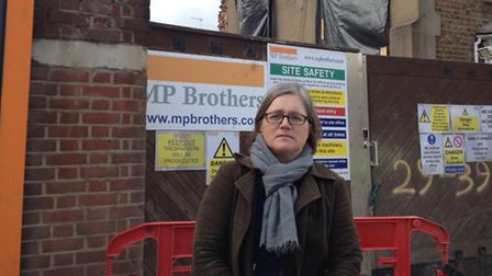 Cllr Russell outside the development in Canning Road