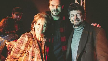 Andy Serkis, right, with Nicholas Hoult and Lorraine Ashbourne