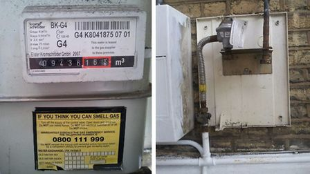 Now you see it...Ms Kowalska's gas meter was stolen leaving her and her childen in a freezing cold h