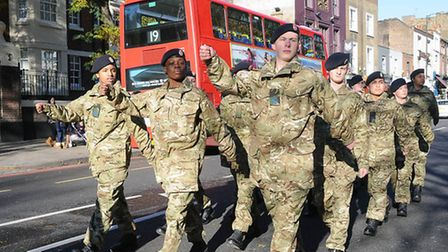 Soldiers parade during last year's Remembrance Sunday events in Islington Pic: Dieter Perry