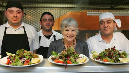 Janet Burgess with chefs Kursat Comert, Ahmed Oztanso and Cengiz Alagoz
