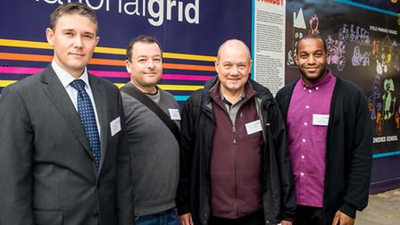 (From left to right) Dan Angel, National Grid, Carl Stevenson, Artist, Cllr Gary Heather and Yemisi