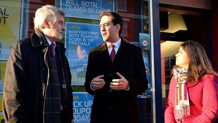 Ed Miliband with Clive Efford MP (left) Shadow DCMS Minister, and Tulip Sidiq (right) party candidat