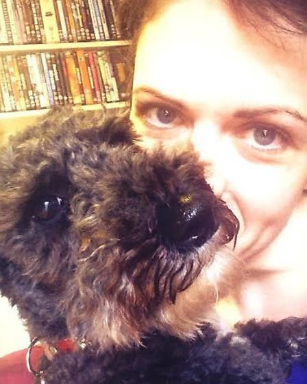 Lu Corfield with her own dog Norma