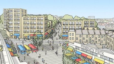 An artist's impression of how the Finsbury Park town centre might look following the development