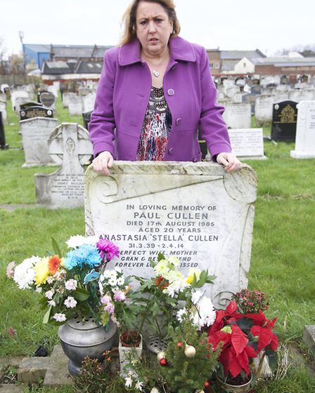 Susan Cullen at her mother and brother's grave (Pic credit: Angela Blake)