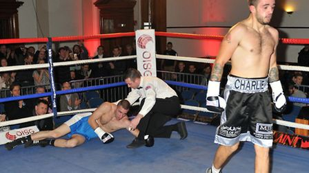 Charlie Rice (right) defeats Gabor Feher at the Camden Centre. Pic: Philip Sharkey/TGSPHOTO