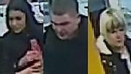 Police would like to speak to this trio after Argos was targeted on January 29 this year (Reference