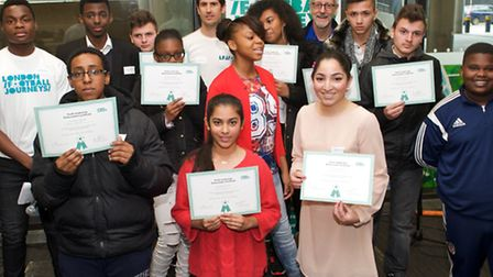 Ark Elvin Academy students with their certificates received for positive leadership at the London Fo