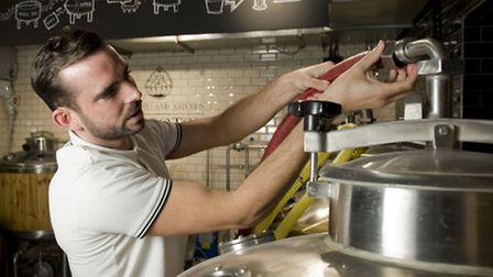 Reporter Jon Dean learning to brew beer at Islington Brewhouse (photo: Arnaud Stephenson)