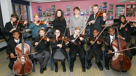 Pupils at �Islington �Arts �and �Media �School �show �off �their �new found �musical �skills Pic: Pa