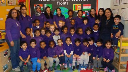 Children and staff from London Road Nursery in Wembley