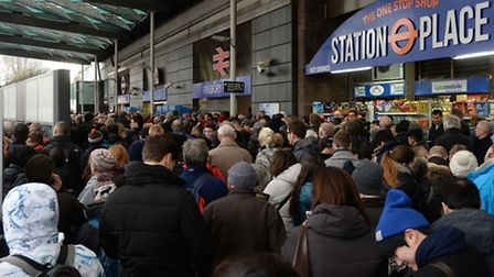 Travel chaos at Finsbury Park station. Picture: PA/Stefan Rousseau