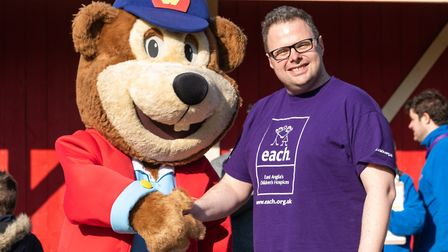 Woody Bear with Michael Hatton of East Anglias Childrens Hospices, ahead of the Pleasurewood Hills c