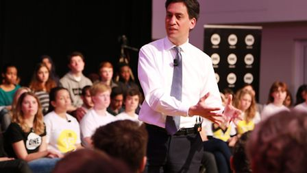 Ed Miliband spent the morning at Queens Park Community School in Aylestone Avenue in a Q&A session o