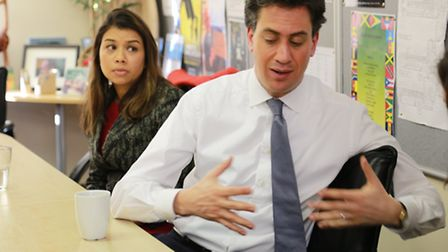 Labour Leader Ed Miliband with the party's Hampstead and Kilburn candidate Tulip Sudiq in the backgr