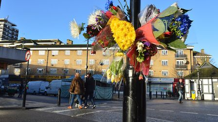 A flower tribute left in memory of Bilal Mirza, on the corner of Salisbury Street and Church Street,