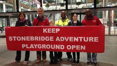 Stonebridge Adventure Playground campaigners outside Brent Civic Centre